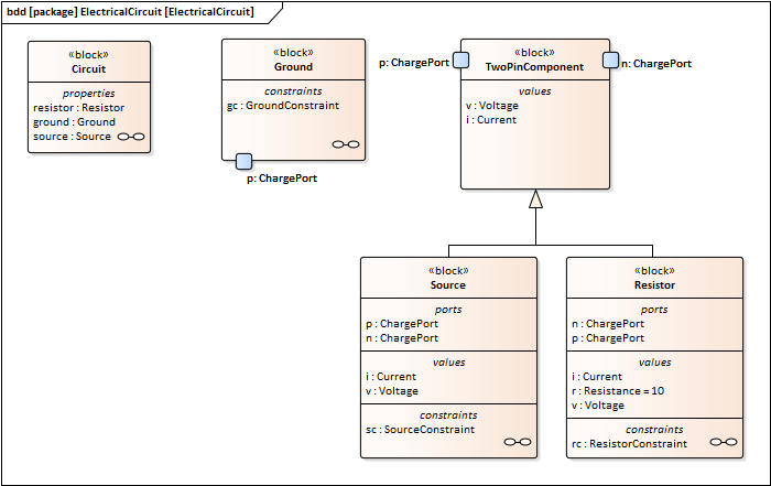 Electrical Circuit Simulation Example   Enterprise Architect User Guide