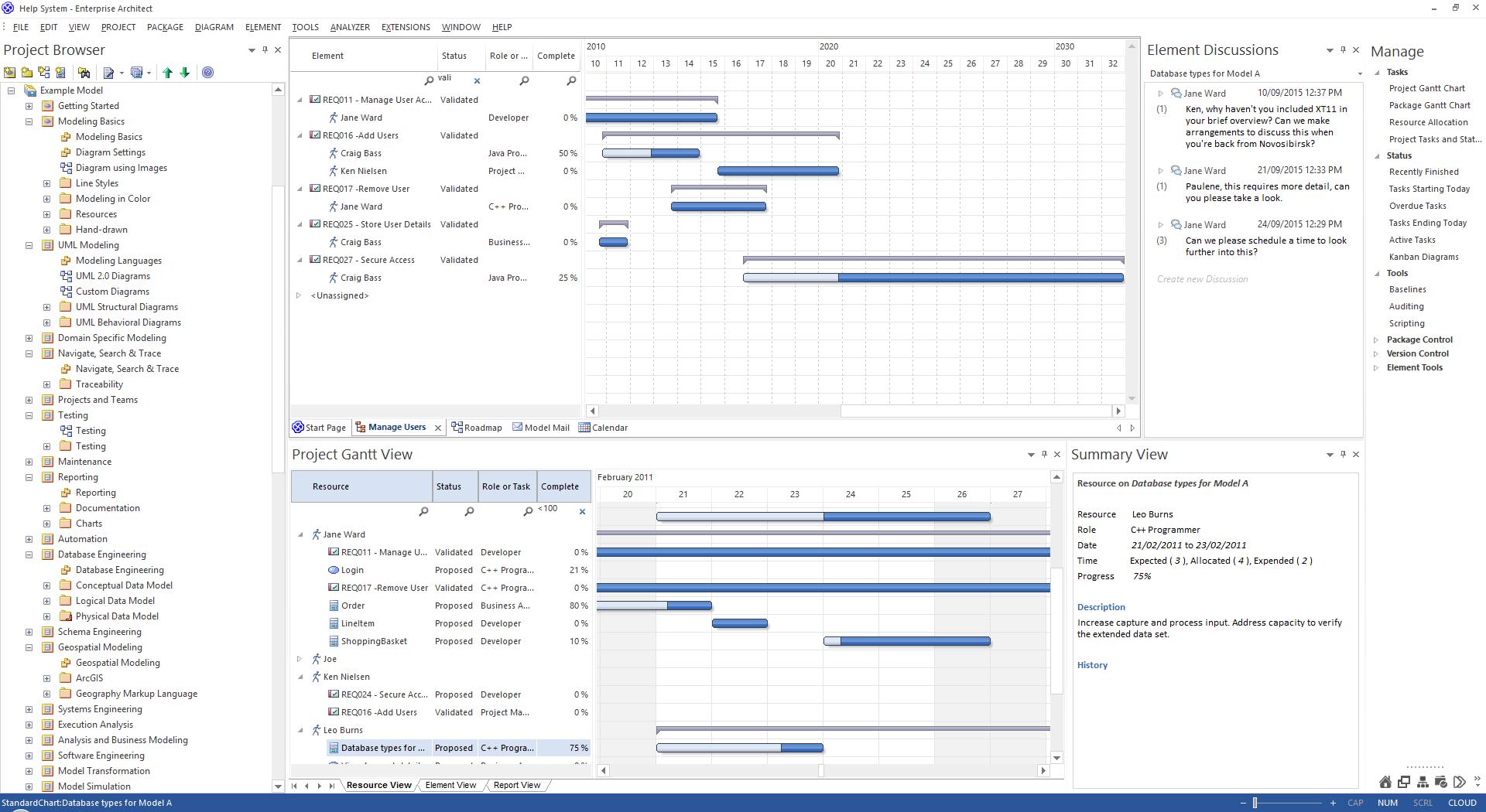 The project gantt view enterprise architect user guide the project gantt view ccuart Images