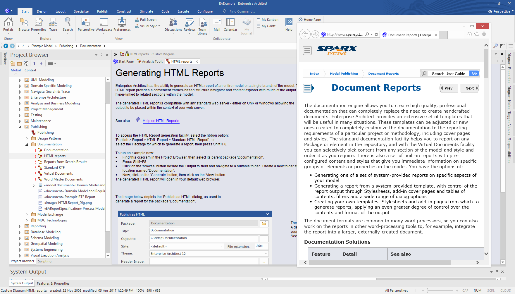 Enterprise Architect Professional Edition: Publish Reports