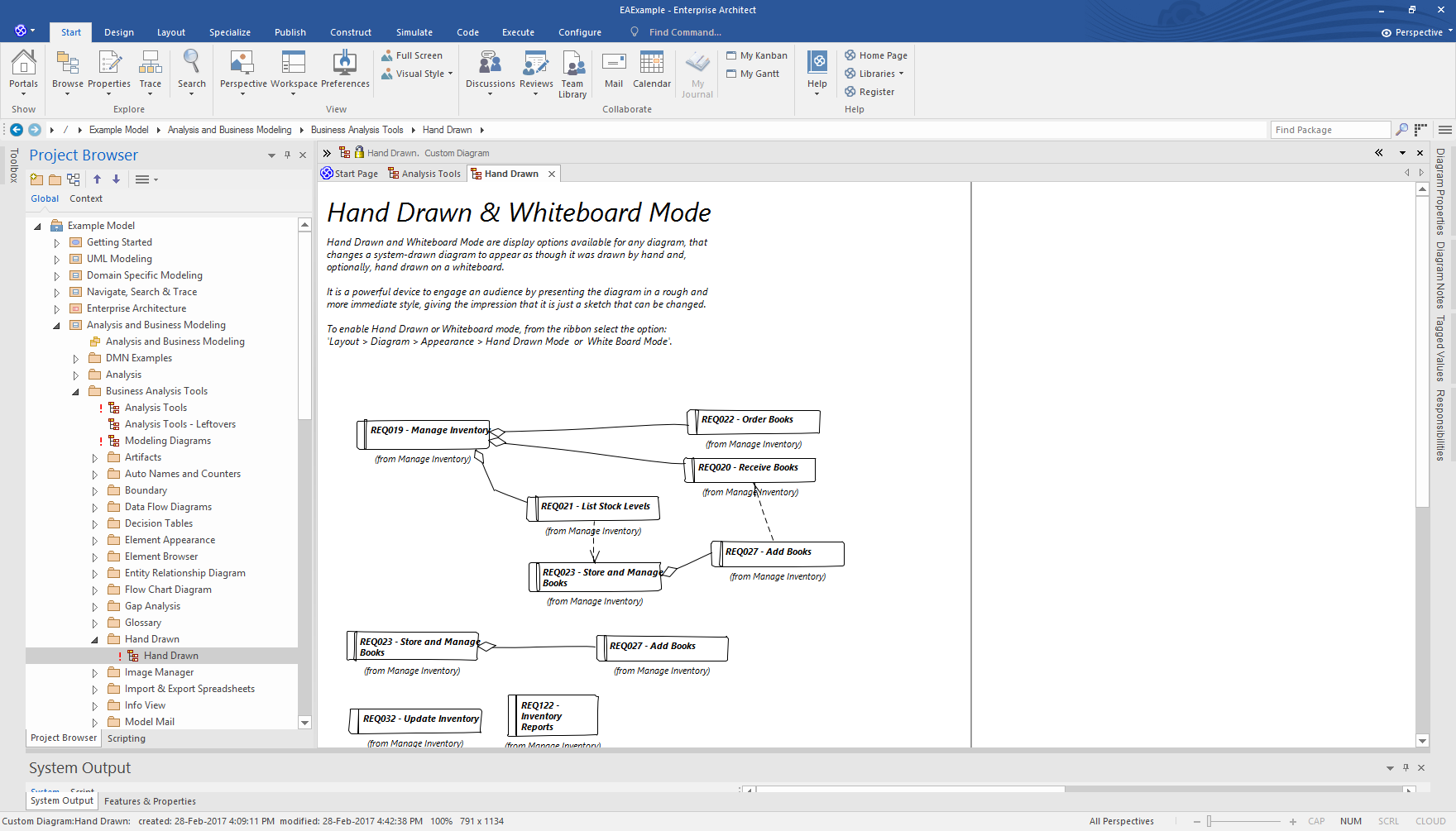 Enterprise Architect Professional Edition: Hand Drawn Mode for diagrams