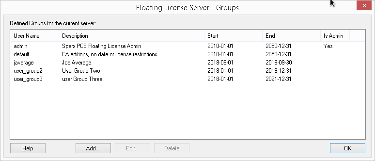 Floating License Server group configuration